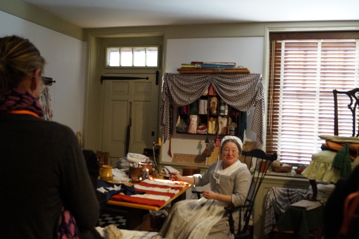 Visiting with Betsy Ross during the Behind-the-Front-Lines Tour at the Betsy Ross House